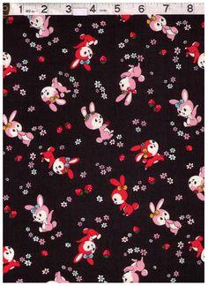 HALF YARD Yuwa - Little Bunnies, Strawberries and Flowers on BLACK - Atsuko Matsuyama 30s collection - Japanese Import Fabric by fabricsupply on Etsy