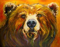 ARTOUTWEST DIANE WHITEHEAD BEAR WILDLIFE ANIMAL ART OIL PAINTING -- Diane Whitehead