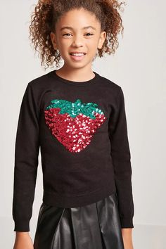 Product Name:Girls Sequin Strawberry Graphic Top (Kids), Category:girls_tops, Price:15.9