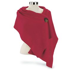 """Sweater Wrap Add chic to chilly nights! Our versatile wrap features two-button fasteners to wear two—or more—ways. Button at front or shoulder; wear with jeans or elegant attire! 100% acrylic. Machine wash. Colors: Red, Green, Black 16"""" x 58""""; one size fits most.  Price: $29.95"""
