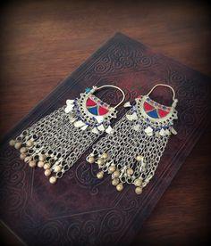 Large Tribal Earrings  with Dangles and Jingle Bells Long Kuchi Earrings Red Blue Kuchi Jewelry Ethnic Tribal Jewelry Pakistan Jewelry