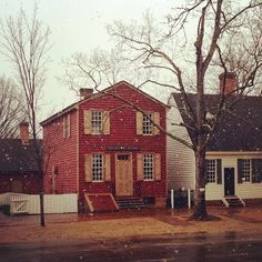 A Bit of Fluffy Snow Outside the Nicolson Store on Colonial Williamsburg's Duke of Gloucester Street.