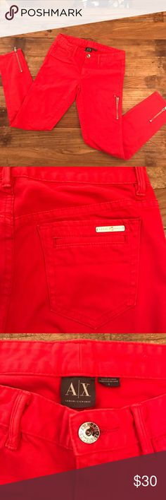 """A/X Armani Exchange Skinnies! Like New! Get ready for Spring in these bright skinnies! Gorgeous orange/red, silver zippers on back of ankles & left thigh. Front faux pockets, functional back pockets with silver A/X name plate on back right pocket. 99% cotton/1% spandex. Waist approximately 29"""",  7"""" Rise,  28 1/2"""" inseam. Throw on a white tee, cropped jacket & some cute pumps & be effortlessly chic! Probably wore twice so in EUC 😊 A/X Armani Exchange Pants Skinny"""