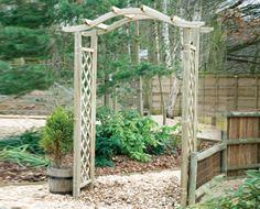 Omega Top Arch - With a playful roof twist, this arch is a must for your garden. Garden Fencing, Fence, Garden Arches, Garden Features, Garden Furniture, Omega, Arbour, Outdoor Structures, Wakefield