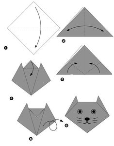 - ariel B - - Tuto chat en papier … Tuto paper cat … - Origami Yoda, Origami Mouse, Origami Star Box, Origami And Kirigami, Origami Dragon, Origami Paper Art, Origami Stars, Paper Crafts, Oragami