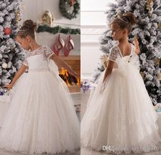 Free shipping, $74.61/Piece:buy wholesale White Christmas Flower Girl Dresses Short Sleeve Lace Ball Gowns for Wedding Ruched Lovely Bow Sash Fluffy Custom Made girl Pageant DressFloor-Length,Girl,Reference Images on xzy1984316's Store from DHgate.com, get worldwide delivery and buyer protection service.