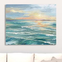 Use our Waves Giclee Canvas Art Print to tie your room together. Using this print's coastal hues as accents, you can create a low-key, relaxing space. Canvas Art Prints, Wall Canvas, Ocean Art, Ocean Waves, Seascape Paintings, Abstract Ocean Painting, Coastal Art, Beach Art, Painting Inspiration