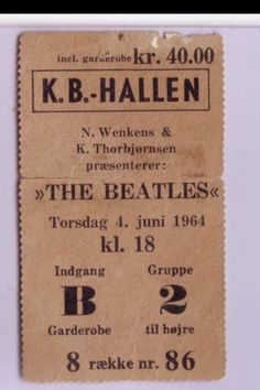 Beatles Ticket stub  for Copenhagen June 4th show the 1st date of 'The Beatles' World Tour 1964 sells for $2,131.66