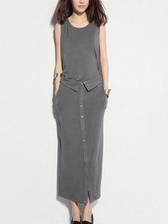 Grey long dress - Casual wear - on Etsy