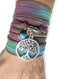 Bohemian Tree Of Life Silk Wrap Bracelet  Yoga Jewelry by HVart, $26.90