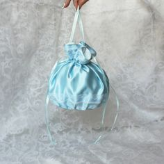 Pompadour purse evening handbag wristlet drawstring reticule blue white satin by AlicesLittleRabbit on Etsy Blue Satin, White Satin, White Cotton, White Lace, Blue And White, Pompadour, Drawstring Backpack, Light Blue, Delicate