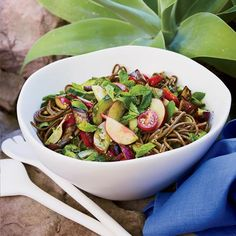 Soba Noodle Salad with Pesto and Grilled Eggplant