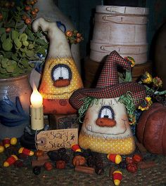 Patti's Ratties Primitive Halloween Witch Ghost Candy Corn Orni Doll Pattern
