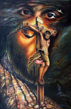 Jesus by Luis Miguel Rodriguez, 1959 Jesus Christ Painting, Jesus Art, Des Photos Saisissantes, Christus Tattoo, Optical Illusion Paintings, Image Jesus, Aztecas Art, Jesus Drawings, Jesus Tattoo