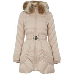 Dawn Levy Belted down jacket with detachable hood ($225) ❤ liked on Polyvore featuring outerwear, jackets, clearance, pearl, pink jacket, long sleeve jacket, down filled jacket, zipper jacket and pink down jacket