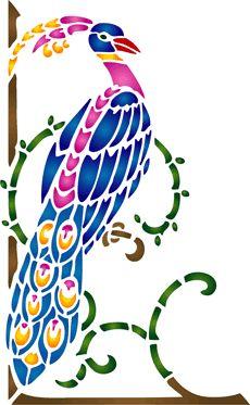Нижний павлин (трафарет для рисования)