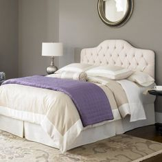 Martinique Complete Bed With Upholstered Headboard And Steel Support Frame Ivory Finish Multiple Sizes