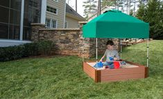 Frame It All Two Inch Series 4ft. x 4ft. x 11in. Composite Square Sandbox Kit with Canopy/Cover
