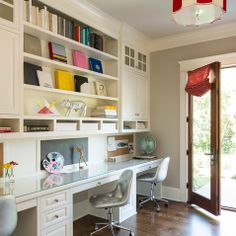 Built In Desk Home Office Design Ideas, Pictures, Remodel and Decor Office Built Ins, Built In Desk, Built In Bookcase, Design Your Home, Home Office Design, House Design, Study Room Design, Library Design, Kids Study