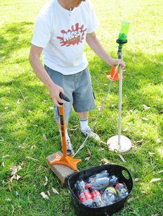 DIY water rocket launching kit - plastic bottles, water, rubber cork, bike pump! (Dapto Messy Church, Oct 2013)