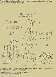 """Primitive Stitchery E-Pattern Rolling Pin Snowman by Month """"August"""", """"The year's last loviest smile."""" on Etsy, $2.00"""