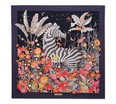 Zebra in Flower Garden Print Scarf Scarf Design, Design Art, Scarf Storage, Small Scarf, Vintage Scarf, Silk Painting, Silk Scarves, Turban, Art Blog