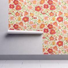 Pastel Poppy Garden Wallpaper  Watercolor Floral By