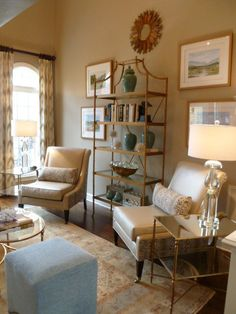 Gold Etagere Animal Print Modern Chairs Clean Lines Soft Pallette MALLORY FIELDS INTERIORS JOHNSON