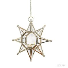 The radiant glow of sun and the stars are yours to enjoy from home or porch. Constructed of nickel-plated brass, with open sides and glass panels on front and back. Sold separately; each comes on a 15 chain with hook for hanging. LED tea lights recommended.