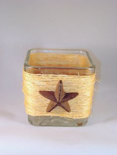 Rustic Country Western Square Glass Candle Holder With Metal Star, Log Cabin Decor,  Centerpiece,Flower Vase, Rustic wedding decoration on Etsy, $10.00