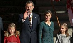 Queen Letizia and her two daughter Leonor, Princess of Asturias, and Infanta Sofía, looked chic as they joined King Felipe outside Parliament in Madrid, Spain.