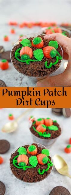 Adorable Pumpkin Patch Dirt Cups are such a cute, kid-friendly dessert recipe for fall, Thanksgiving and Halloween parties!