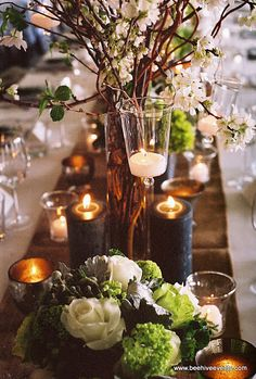 Green & white table scape w/branches, candles. Wedding Centerpieces, Wedding Table, Rustic Wedding, Wedding Decorations, Centerpiece Ideas, Wedding Ideas, Beautiful Table Settings, Deco Table, Decoration Table