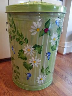 Decorative Hand Painted Green 20 Gallon Galvanized Metal Trash/Garbage/Storage Can w/Side Handles and Tight Fit Lid by krystasinthepointe on Etsy