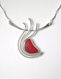 Sea Glass Jewelry - Sterling Extremely Rare Red English Sea Glass Necklace on Etsy, $295.00