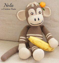 Brown monkey amigurumi crocheted toy, cute crochet monkey, stuffed animal, artist monkey, lovely monkey, cotton monkey, toy gift