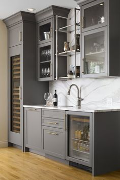 Modern home bar design ideas Gray Basement, Wet Bar Basement, Basement Kitchenette, Basement Bar Designs, Basement Bathroom, Teen Basement, Kitchenette Ideas, Basement Ideas, Wet Bar Designs