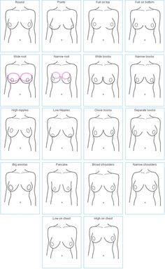 Examples of How Breasts Come in Different Shapes by Invest In Your Chest. This link also has a great explanation on how to measure yourself