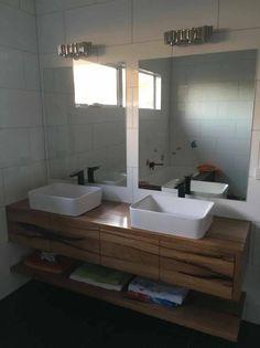 Floating timber vanity Timber Vanity, Double Vanity, Sink, Bathroom, Home Decor, Sink Tops, Washroom, Wood Vanity, Bath Room