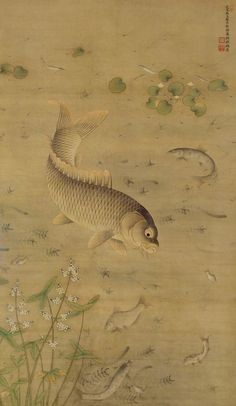 Miao Fu: Fish and Water Plants | China Online Museum.   Miao Fu (繆輔, 15th c.), Ming Dynasty (1368-1644), Hanging scroll, ink and color on silk, 171.3 x 99.1 cm, The Palace Museum, Beijing