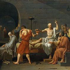 مرگ سقراط  اثر ژاک لویی داوید نقاش فرانسوی و از پیشگامان نئوکلاسیسیسم. دولت آتن سقراط را متهم به انکار خدایان و تشویش اذهان جوانان می کند و از او می خواهد که از باورهایش برگردد و یا به وسیله نوشیدن شوکران خودکشی کند؛ وی از باورش برنمی گردد و اعدام می شود