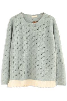 Demure Solid Hollow-Out Knit SweaterOASAP Giveaway, 10 pieces per day, till the end of 2014! Easiest way to get free clothing!