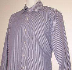 Men Ralph Lauren Dress Shirt Striped Slim Fit Non Iron 100% Cotton 16 X 34 / 35 #LaurenRalphLauren