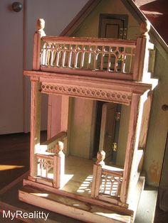 Porch of antique German Gottschalk dollhouse