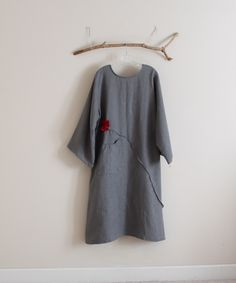 gray linen dress with crimson flower by annyschooecoclothing