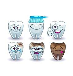 Funny cartoon teeth set vector by lilu330 - Image #6552708 - VectorStock