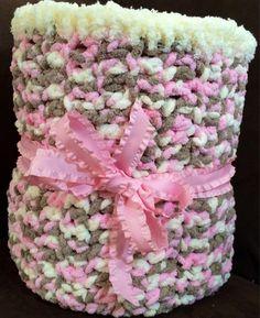 Crochet Super Soft Chunky Baby Blanket Afghan Throw Pink Beige White