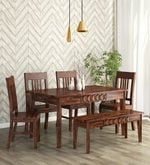 Buy Avilys Solid Wood Six Seater Dining Set with Bench in Provincial Teak Finish by Woodsworth  Online: Shop from wide range of Dining Online in India at best prices. ✔Free Shipping✔Easy EMI✔Easy Returns
