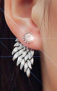 Angel bird wing black , gold  or silver jacket earring