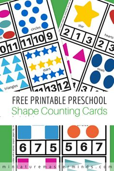 Free Printable Preschool Shape Counting Cards Learn shapes and practice counting at the same time with these shape counting cards! From 1 – 12 the kids can count circles, stars, hearts, and t…